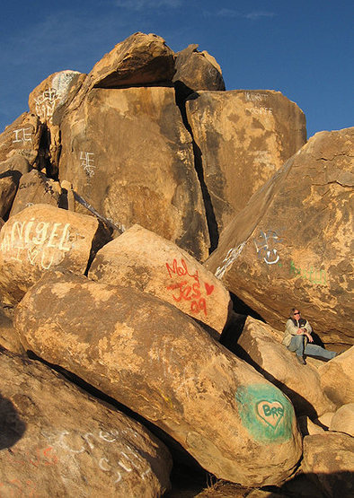 Graffiti covered boulders.<br> Photo by locker.