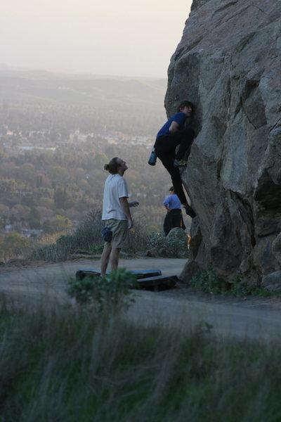 Climbers from Santa Barbara working on Borsons Mantel. 1-24-10
