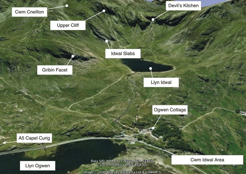 Cwm Idwal and significant landmarks.