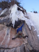 Rock Climbing Photo: E.M. pulling the roof of Stemcicle.  The pillar ha...