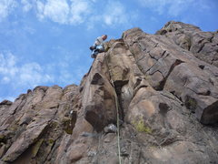 Rock Climbing Photo: The climber is just above the best part.  The line...