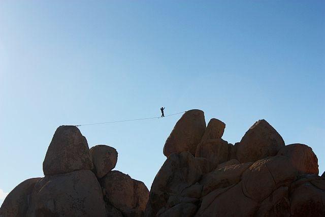 Rock Climbing Photo: Highline at Hall of Horrors, Joshua Tree NP