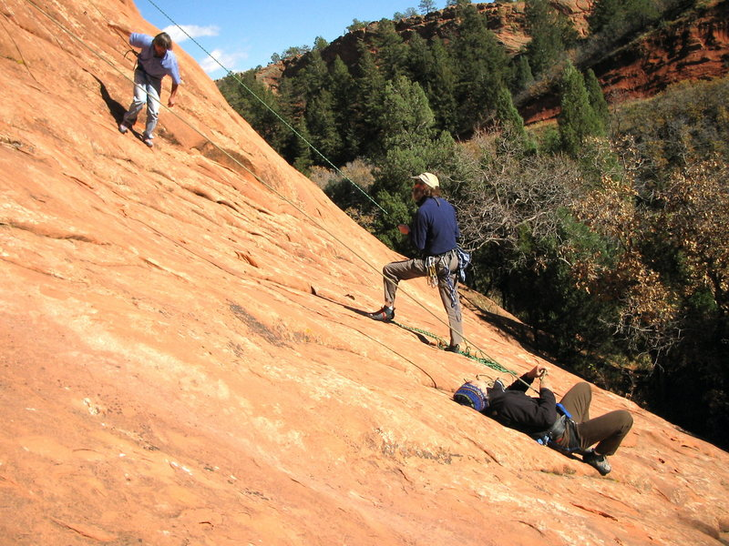 Rock Climbing Photo: Chuck's famous upside down belay. I've trusted it ...