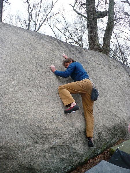 Rock Climbing Photo: Bryan getting on Knee Smasher, Boat Rock, GA.