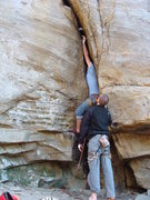 Rock Climbing Photo: Stuck and pushing my first piece way on up there. ...