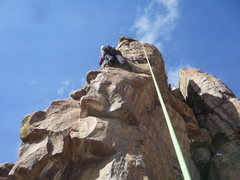 Rock Climbing Photo: Past the crux and cruising to the anchor.