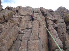 Rock Climbing Photo: CM enjoying the nice crack squeezed between bolt l...