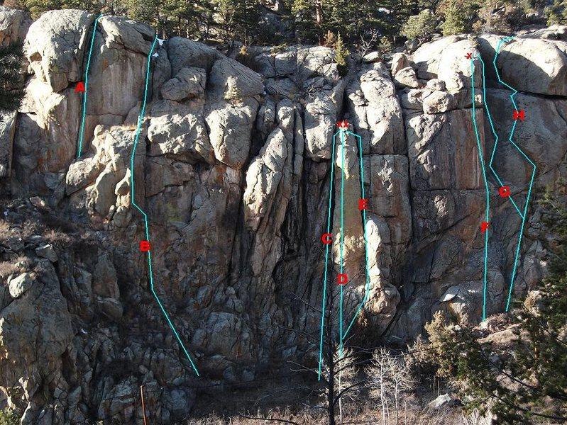 A few more routes on Caddis Cliff.<br> A.Prince Nymph 5.11d, TR<br> B:Glow Bug 5.8 R, gear<br> C:San Juan Worm 5.7, TR<br> D:Unknown Spire 5.10, sport<br> E:PMD 5.9, TR/gear<br> F:Woolly Bugger 5.11, sport<br> G:Curving Corner 5.8, gear/TR<br> H:Orange Zonker 5.9, gear.