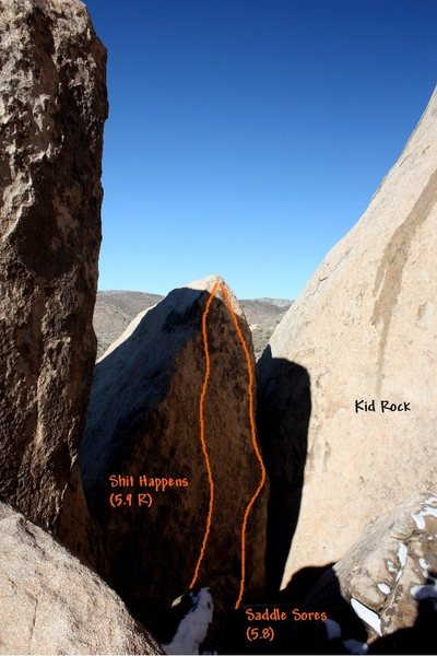 Photo/topo for The Saddlehorn (E. Face), Joshua Tree NP