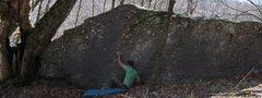 "Rock Climbing Photo: Aaron Parlier on the sit start to ""Ragoo&quot..."