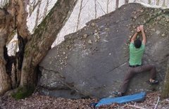 "Rock Climbing Photo: Aaron Parlier on ""Ragoo"" (V-4), Left Bon..."