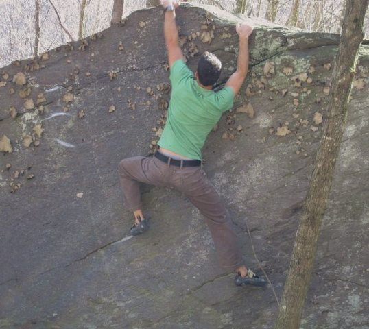 Rock Climbing Photo: Aaron Parlier at the top out to Ragoo (v-4)