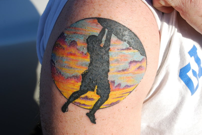 Steve's tat of Steve climbing the 10 on Hitchcock