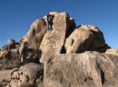 Rock Climbing Photo: Sally standing around at the Forgotten Boulders. P...