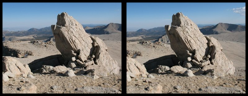 "This is a cross-eye stereogram of a rock ""tooth"" high on Mt. Langley.  I thought about climbing it, but couldn't find the motivation after the slog to the summit of Langley!"