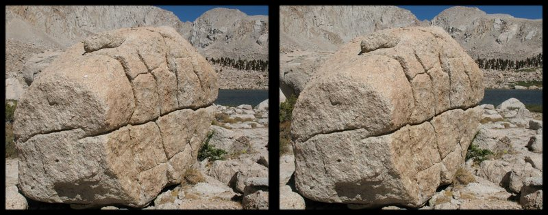 A cross-eye stereogram of a big boulder at cottonwood lakes below Langley.  scout the problems in 3-D!