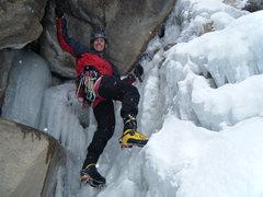 Rock Climbing Photo: Steve Berwanger at the start Fall Creek. That's a ...