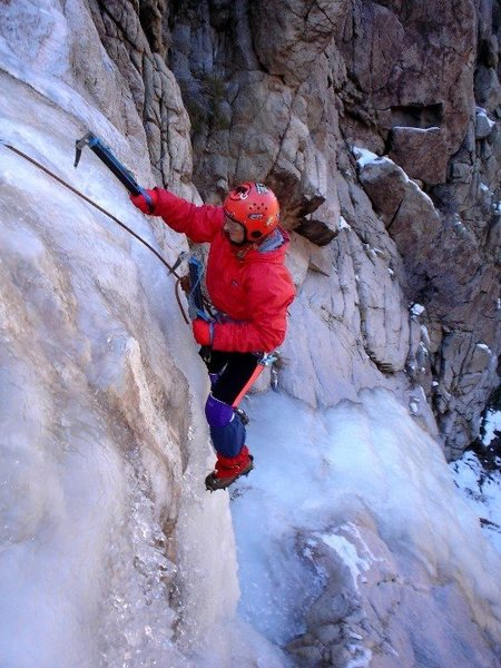 Karin Freudenberg, Norwood, CO on her  first day ice climbing.