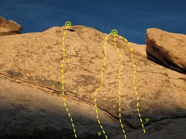 The Solarium (Left Side), Joshua Tree NP<br> <br> A. Broken Hearted (5.10c)<br> B. Remembering Marina (5.9)<br> C. Fresh Step (5.10a)<br> D. Tim's Valentine (5.7)