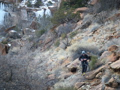 Rock Climbing Photo: Steve on the easy hike out. Photo taken from the r...
