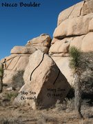 Rock Climbing Photo: Photo/topo for the Necco Boulder, Joshua Tree NP