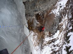 Rock Climbing Photo: Looking back at my belayer on the 2nd pitch, upwar...