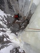 Rock Climbing Photo: Looking down at the third belay after turning the ...