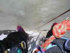 Rock Climbing Photo: Looking down the headwall of ice 50ft. from the to...