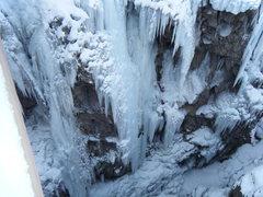 Rock Climbing Photo: Betty Thorson OD'ing on ice.