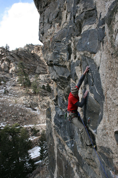 Rock Climbing Photo: Finishing the crux of my route, 100 proof. Located...