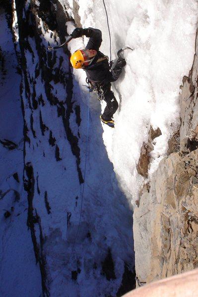 Chuck Burr working his way up the steep stuff.