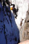 Rock Climbing Photo: Chuck Burr working his way up the steep stuff.