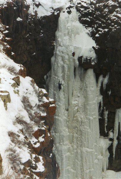 Mrs. Mesa, mid-winter conditions. Feb. 2004. Climber: Jim LaRue, Jackson, WY.