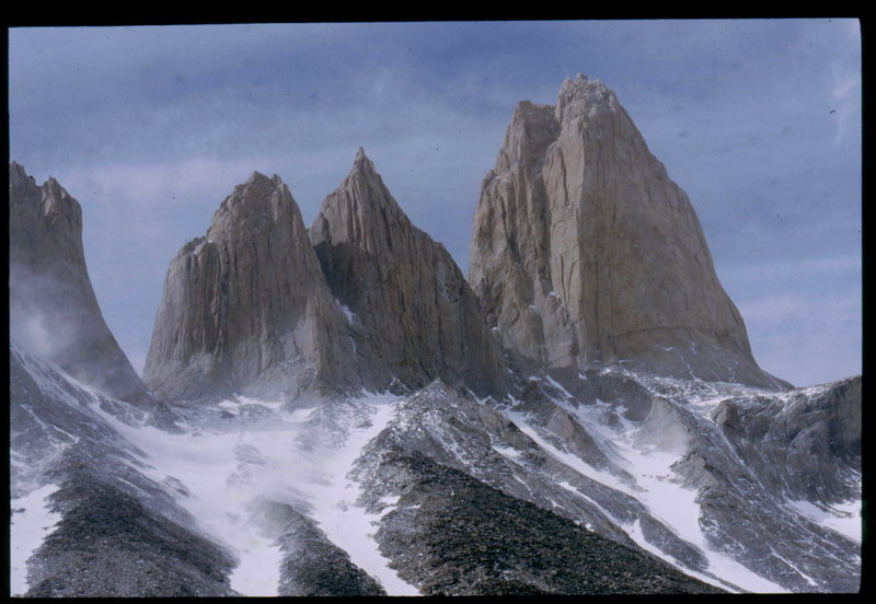 shot of north and central tower.(central tower is on the far right, North tower summit is the right point of the middle double peak in the photo) The Monzino route starts at the notch between the North and Central Tower. Not really viewable in this shot.