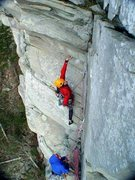 Rock Climbing Photo: Aaron moving into the crux on P2 of Lynn Cove.