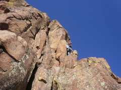 Rock Climbing Photo: Faking difficulty by the super high, first bolt.