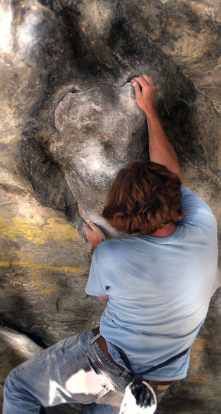 "Luke Childers on ""Fluid Mechanic.""  C.C.C. The New River Wall bouldering area."