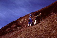 Rock Climbing Photo: Al Rubin and I atop P1. Pretty scairey, I still ha...
