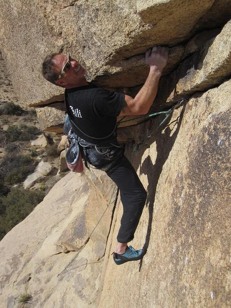 Dave Mayville leading Uppercut, 5.10d<br> <br> photo by bob gaines