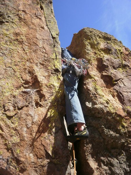 Brutal crux on pitch 2.