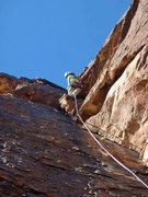 Rock Climbing Photo: Susan Wolfe leading the spectacular third (or 4th)...