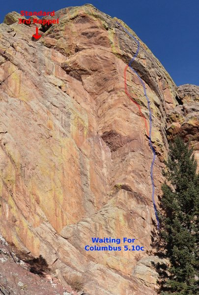 Rock Climbing Photo: Route I took in blue, the topo shows an alternate ...
