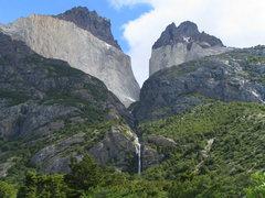 Rock Climbing Photo: Torres del Paine  Cuerno Principal (L) and Cuerno ...