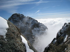 Rock Climbing Photo: Third Peak (lowest), Lost Peak (middle), and The W...