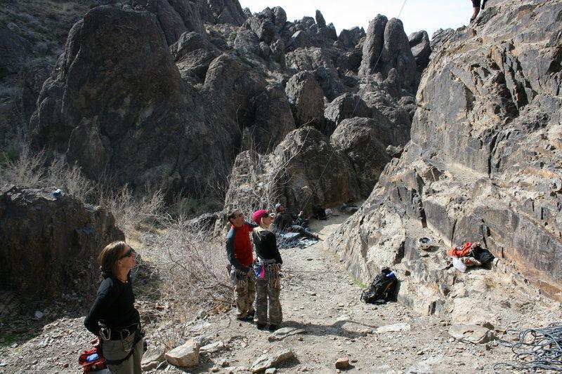 Rock Climbing Photo: Waiting, watching and belaying