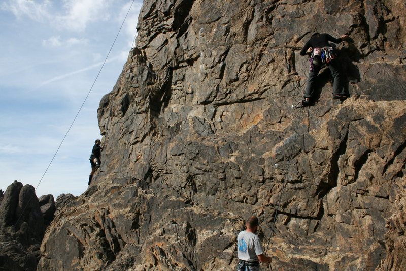 Rock Climbing Photo: Agina on Route 66 with Nathan on belay.