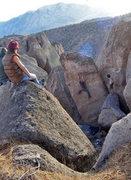 Rock Climbing Photo: AW on 'Gigantor' v2 R  photo: Carey Velasco