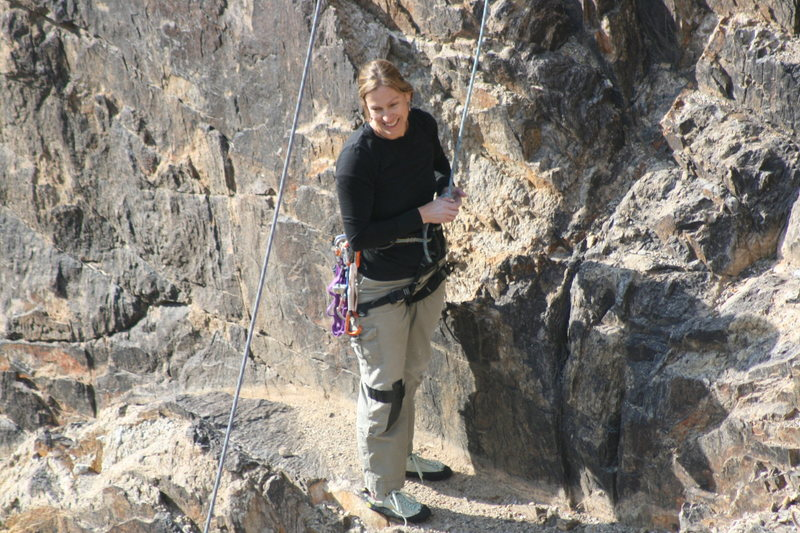 Noelle with a nice smile after a good climb.