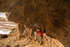 Rock Climbing Photo: Ben getting ready to pop for the good horn low on ...