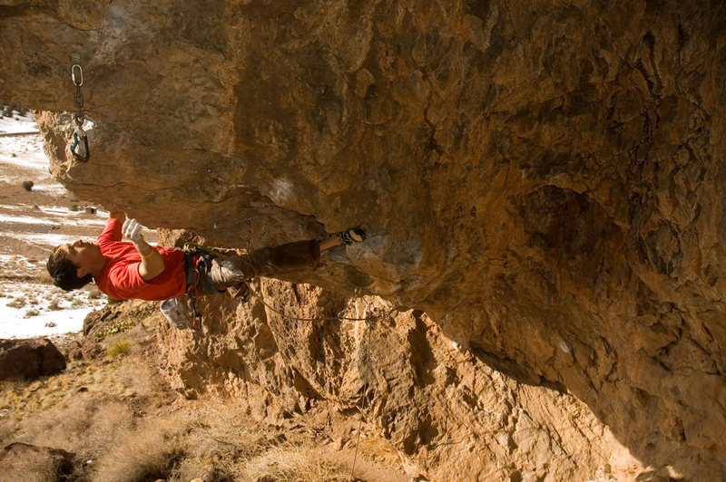 Rock Climbing Photo: Ben squeezing the steep arete through the middle s...